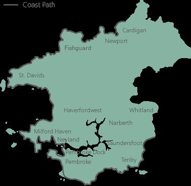 Map Of Pembrokeshire The Pembrokeshire Coast Path   Coastal Path Map of Pembrokeshire